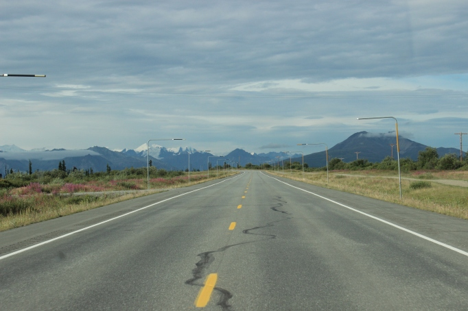 The Glenn Highway heading east towards the Anchorage bowl