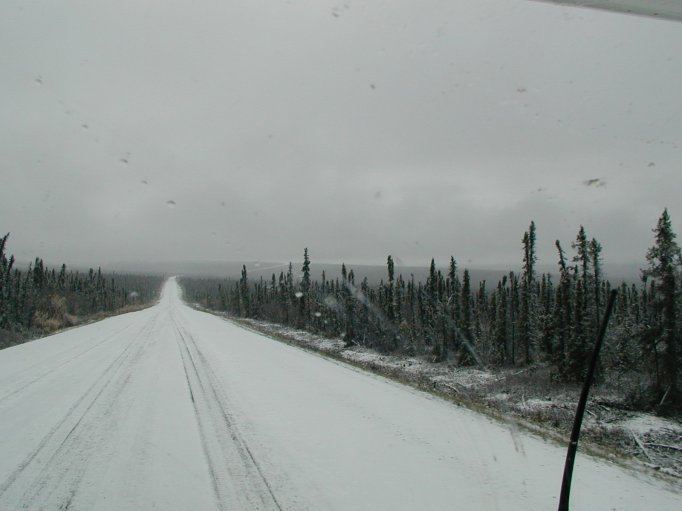 On our return from making the Arctic Circle via the Dalton Highway (AKA The Haul Road, AK 11) we ran into some snow