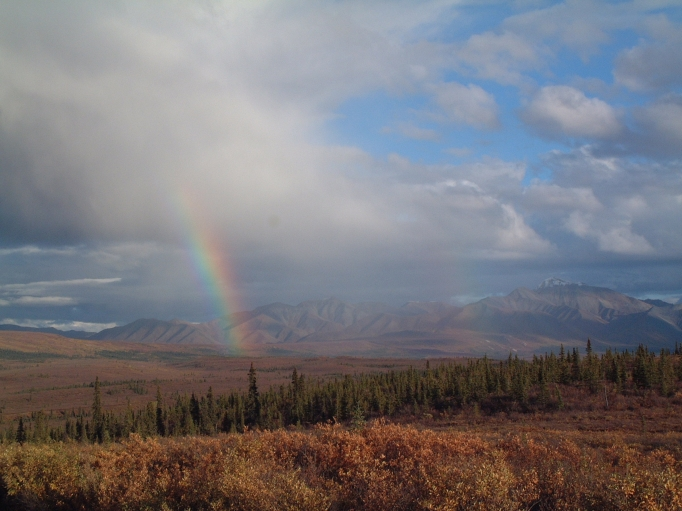 A faint second rainbow visible from the Park Road while driving from Savage River Station to Teklanika camp site