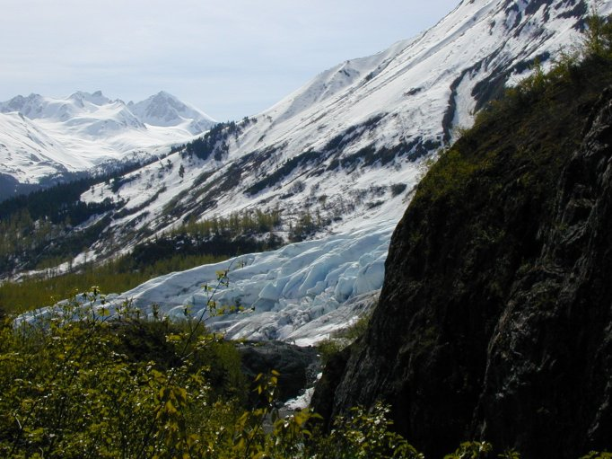 In early June of 2000 I was hiking the Harding Icefield Trail and came upon this gorgeous view of the Exit Glacier and the Kenai Mountains