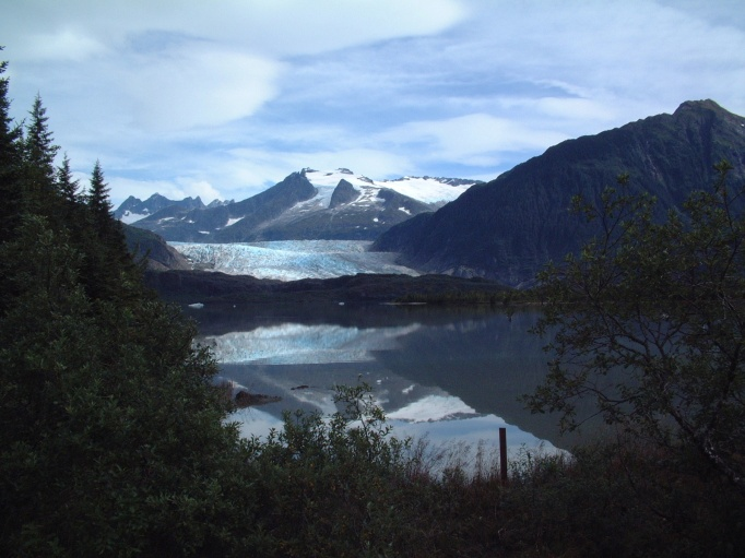 The Mendenhall Glacier with the Mendenhall Towers in the background