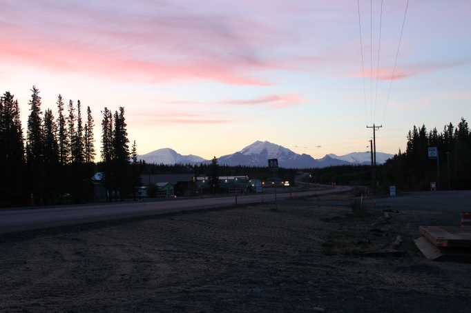 Early August sunrise in Glennallen; looking east at Mount Snider (left) and Mount Drum (right)