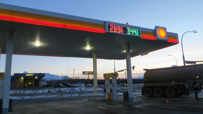A Shell station on the Palmer-Wasilla Highway had the lowest gasoline prices I've seen since relocating here in August of 2013