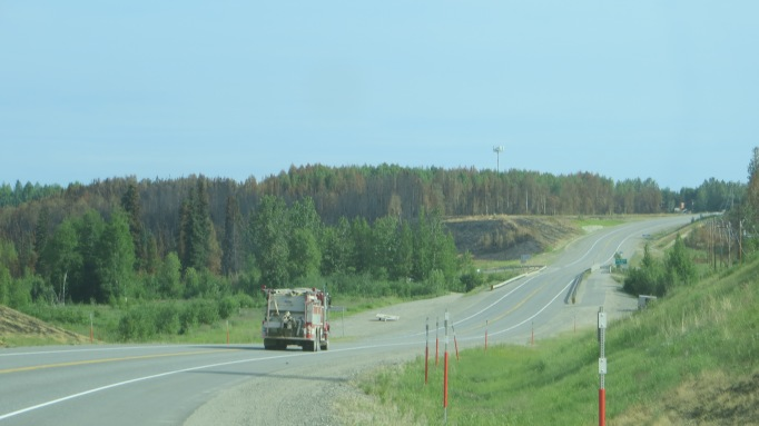 Fire truck heading north on the Parks Highway
