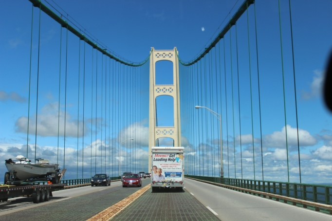 Crossing the Mackinaw Bridge into the Upper Peninsula of Michigan