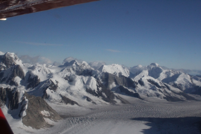 A section of The Alaska Range as seen from a K2 Aviation Beaver during a flight-seeing trip which included a glacier landing