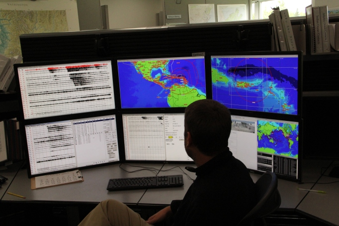 A view of one of the command desks in the National Tsunami Warning Center located in Palmer